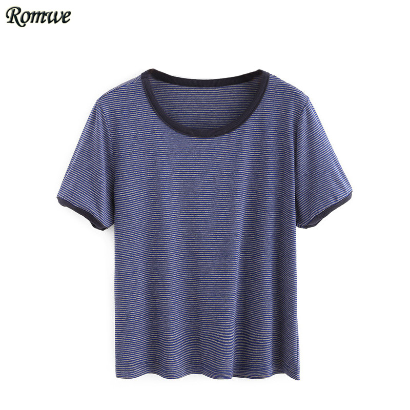 ROMWE Women Contrast Trim Tees Fashion T shirts For Women Cotton Top 2016 New Round Neck Short Sleeve Color Block Crop T-shirt(China (Mainland))