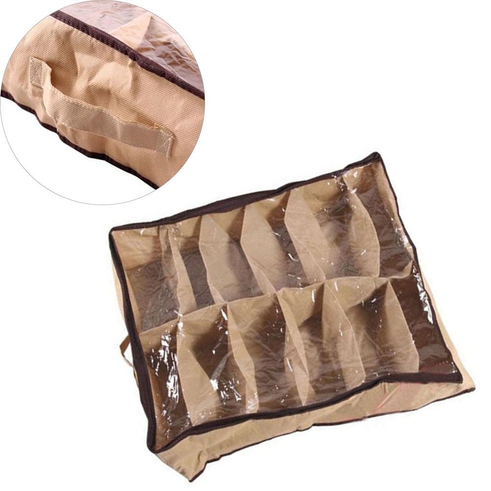 12 Pair Under Bed Shoe Organizer Nonwovens fabric Foldable Storage Box Holder A609(China (Mainland))