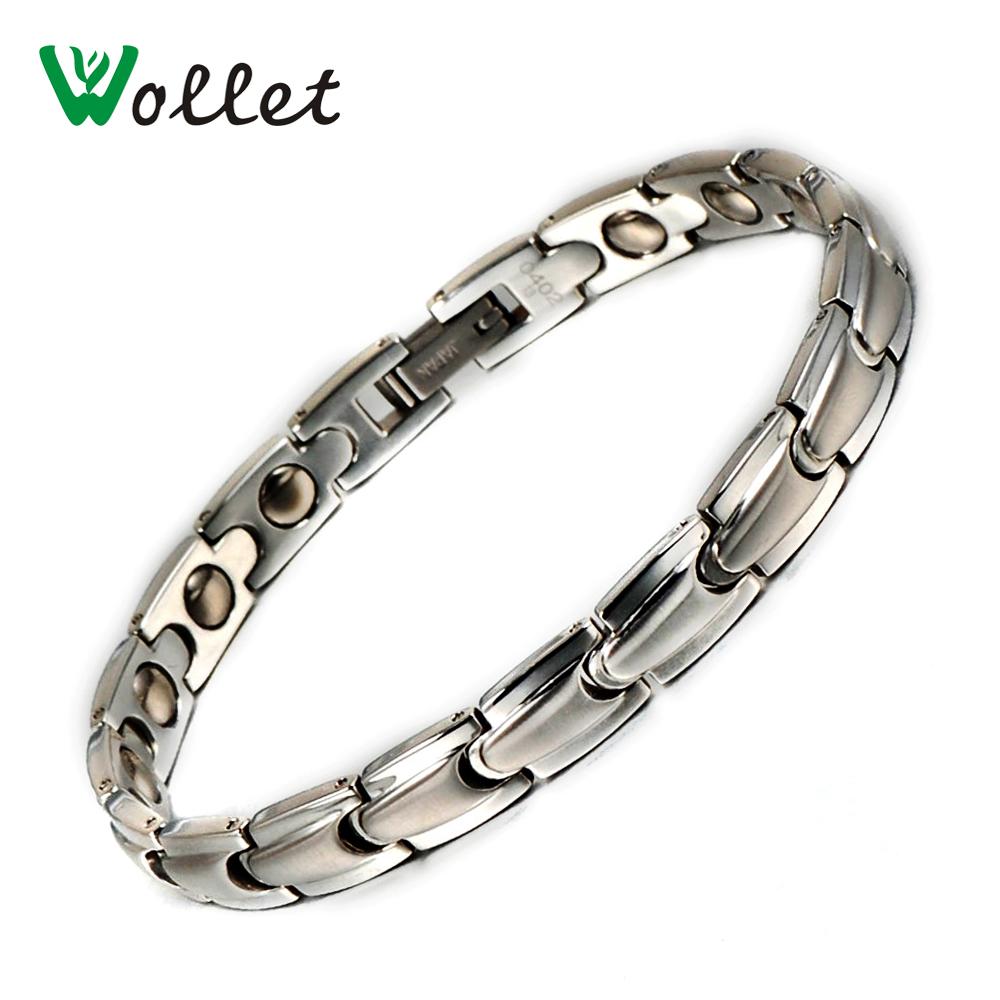 Wollet Korea Style Hand Chain Healing Energy Stainless Steel Magnetic Hematite Germanium Bracelet Bangle For Women(China (Mainland))