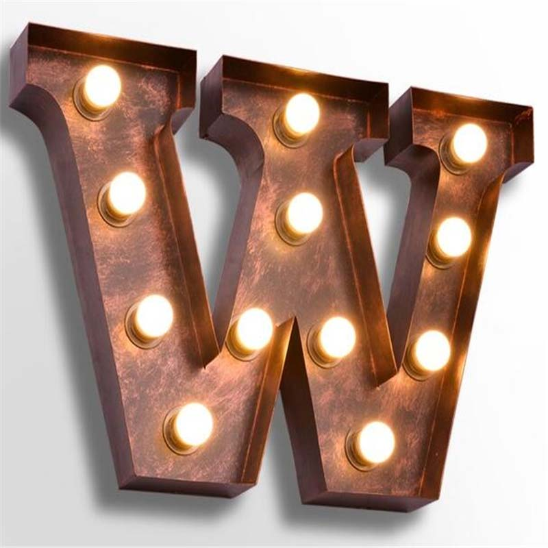 letters w wall lamps vintage american personality wrought iron wall lights bar cafe billboard metal alphabet sconces