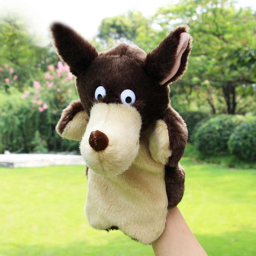 New Kids Lovely Animal Plush Hand Puppets Childhood Soft Toy Wolf Shape Story Pretend Playing Dolls Gift For Children(China (Mainland))