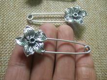 10Pcs Antique Silver Tone Strong Metal Kilt Scarf Brooch Safety Pin With Flower 53mm