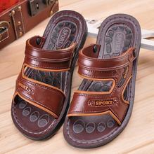 2016 summer new fashion men's casual indoor outdoor slippers Sandals male buckle big size shoes brown black
