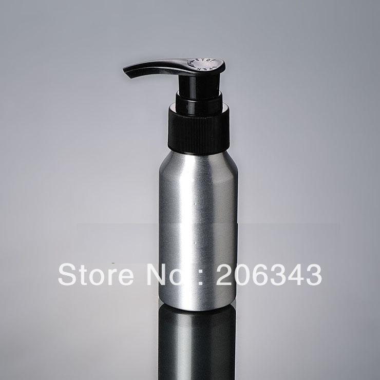 100pcs 100ml Aluminium bottle pump  bottle with black press pump