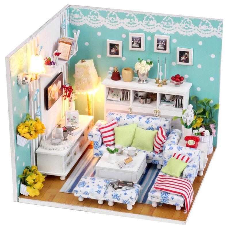 [해외]미니 인형의 집 DIY 모델 FurnitureLight 나무 아름다운 ..