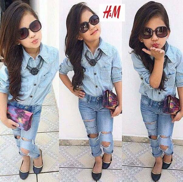 fashion girls clothing children sets girls summer spring Denim jacket clothes kids girl Hole jeans set Cowboy suit top + jeans