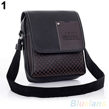 Fashion Men's Faux Leather Grid Cover Briefcase Crossbody Messenger Shoulder Bag
