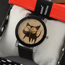 2016 New Fashion Cute watches Women and Children Favor black cat Cartoon watches Casual quartz wristWatches