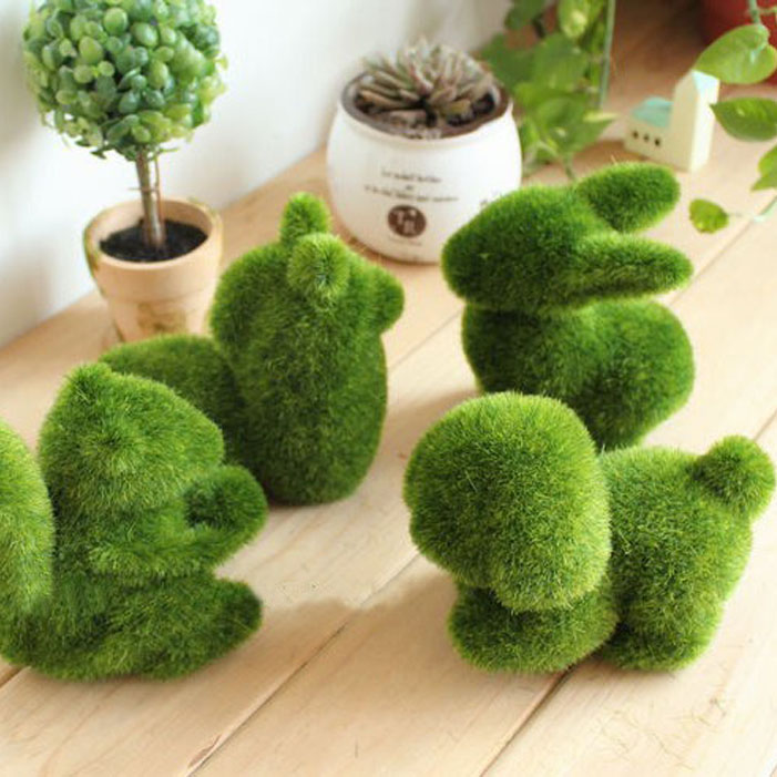 Set of 4 PCS Small Artificial Plant Small Grass Moss Animal Alpaca Rabbit Squirrel Artificial Turf Grass Animal Decorations(China (Mainland))