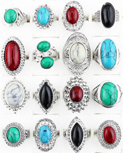 Wholesale Lot 5pcs Vintage Look Retr Craft Tibet Alloy Silver Plated Assorted Design And  Color Turquoise Rings TR179