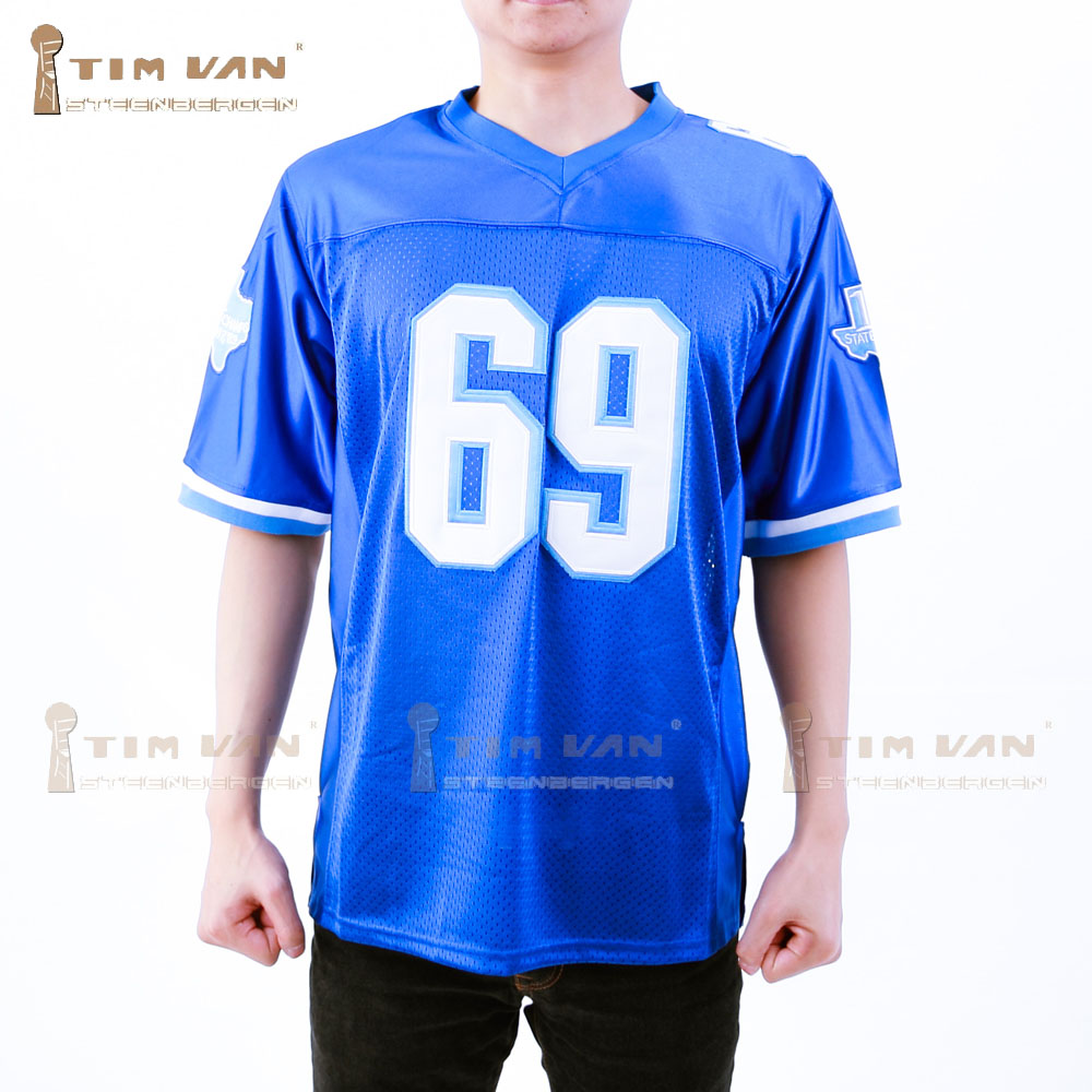TIM VAN STEENBERGE Varsity Blues Billy Bob 69 American Football Jersey Stitched Sewn-Blue(China (Mainland))