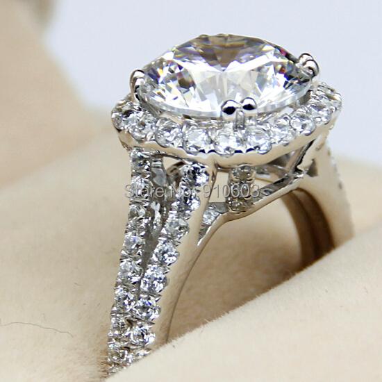 Aliexpress Buy Luxury Center 3 Carat Simulated Diamond Halo Female Ring