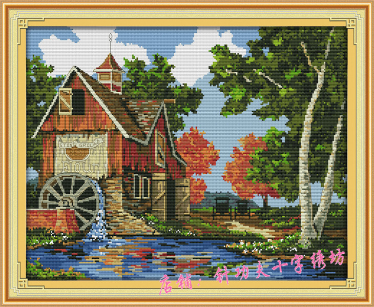 Precise printed counted cross stitch kit landscape for Log cabin painting