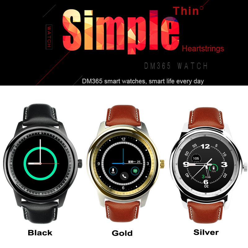 Simple Thin IPS DM365 Smart Watch LCD Touch Screen Bluetooth with MIC Round Smartwatch Sync Call for IOS Android Phone VS DM360(China (Mainland))