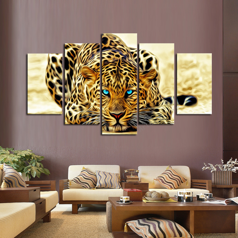 5 Piece Abstract Leopards Modern Home Wall Decor Canvas Picture Art HD Print Painting Set of 5 Each Canvas Arts Unframe(China (Mainland))