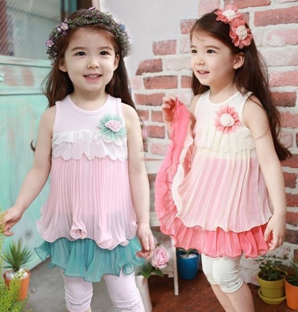 2016 новый летний девушка платья девочки шифоновое платье дети дети цветов falbala ну вечеринку жилет без рукавов платье