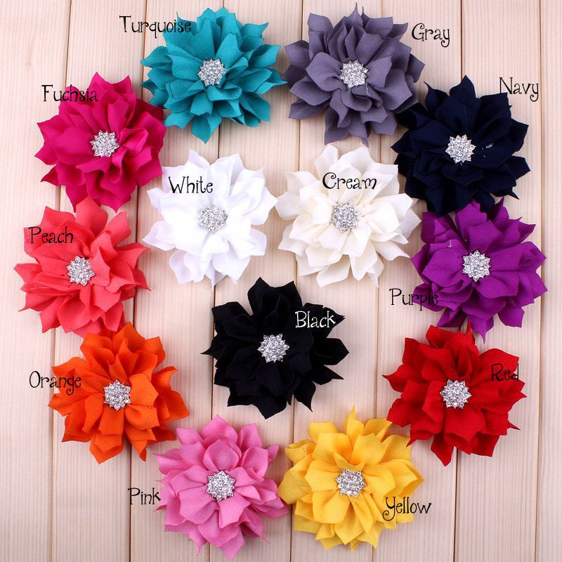 "30pcs/lot 3.6"" 13colors Artificial Lotus Leaf Flowers With Rhinestone Button For Hair Accessories Fabric Flowers For Headbands(China (Mainland))"