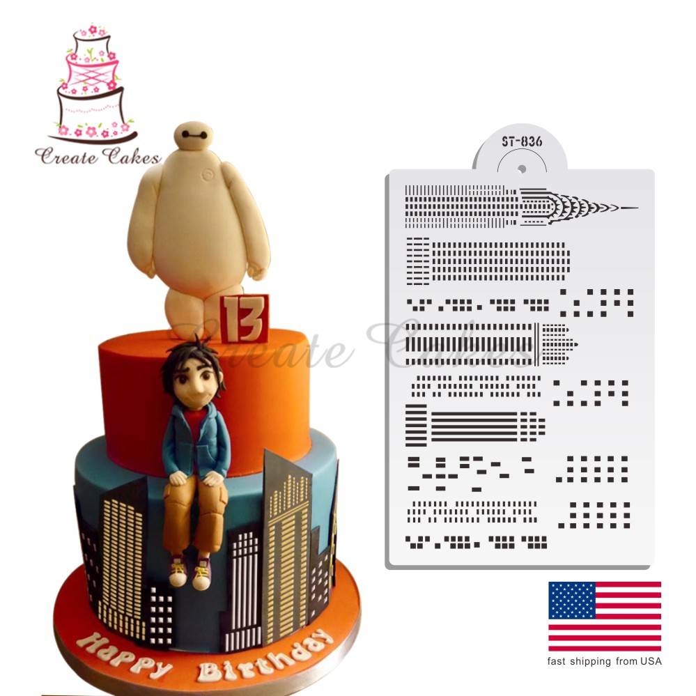 High Buildings Stencil Decorating Stencil Cake Template Mold Cake Side Stencil set ST-836(China (Mainland))