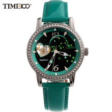 Time100 Ladies Fashion 12 Constellation Sagittarius Automatic Self-Winding Mechanical Leather Band Watches For Women W80050L.09A