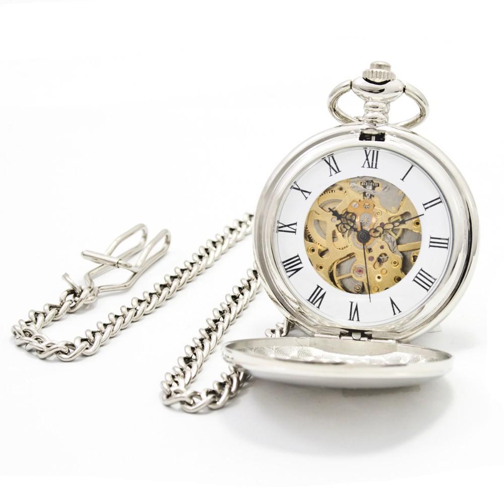 PJX904 Fashion Silver Steel Steampunk Mechanical Pocket Watch Men Women Necklace Clock GIFT FOB Vintage Skeleton Pocket Watch(China (Mainland))