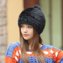 High quality Fashionable winter hats for women Rabbit Fur beanie Knitting wool Real Fur Casual cute girls cap free shopping(China (Mainland))