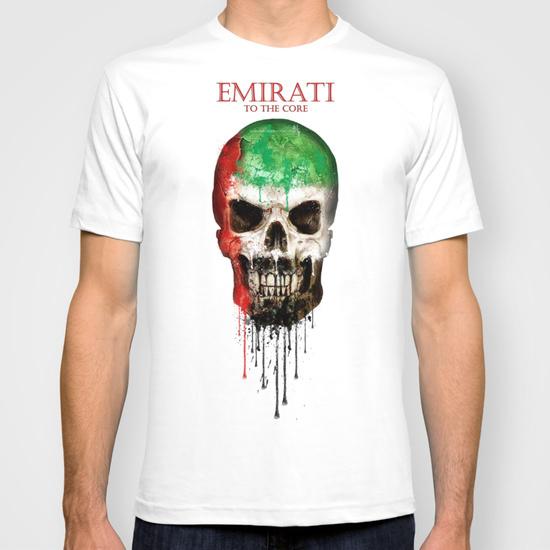 Men summer short sleeves T Shirt United Arab Flag Pattern Skull Casual T-shirt Men clothing Plus Size S M L XL XXL(China (Mainland))
