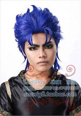heat resistant Party cosplays hair TJ>>>>> Bizarre Adventure Jonathan Qiao Sida Dark Blue Cosplay Wig(China (Mainland))