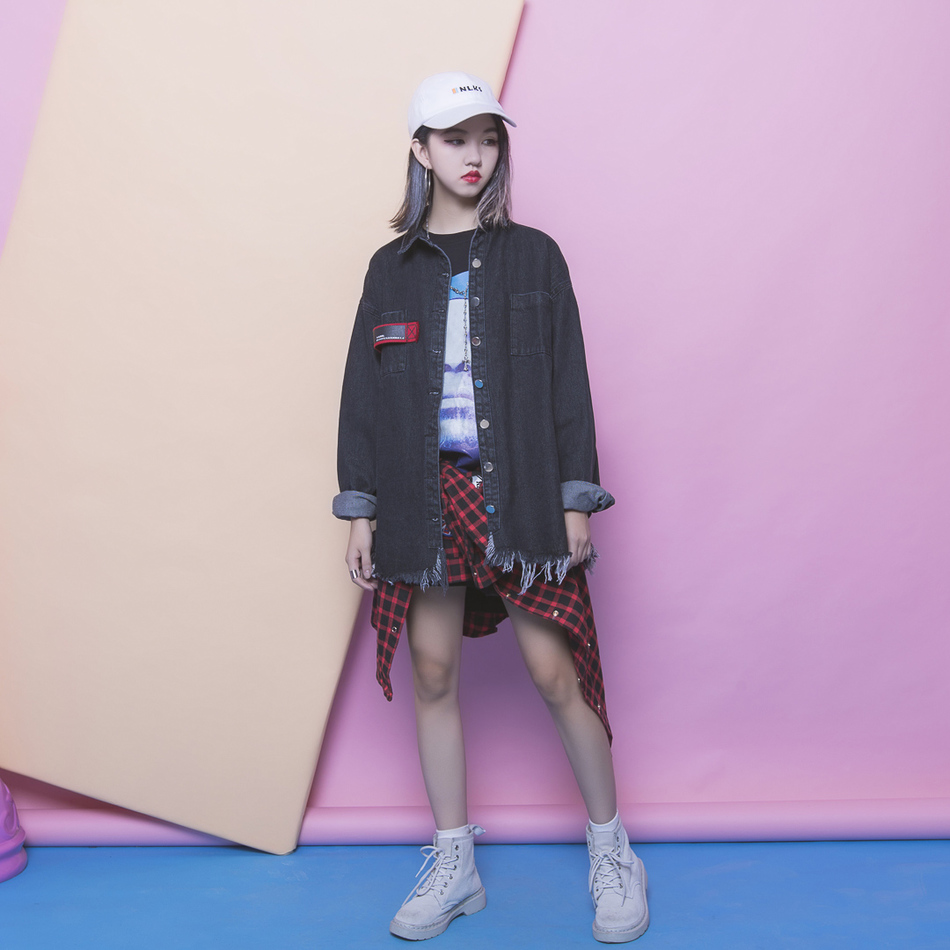 [soonyour] 2016 Autumn New Fashion Do old Tassels Behind Letter Printing Long Sleeve Cowboy Black and Blue Loose Coat YD1071