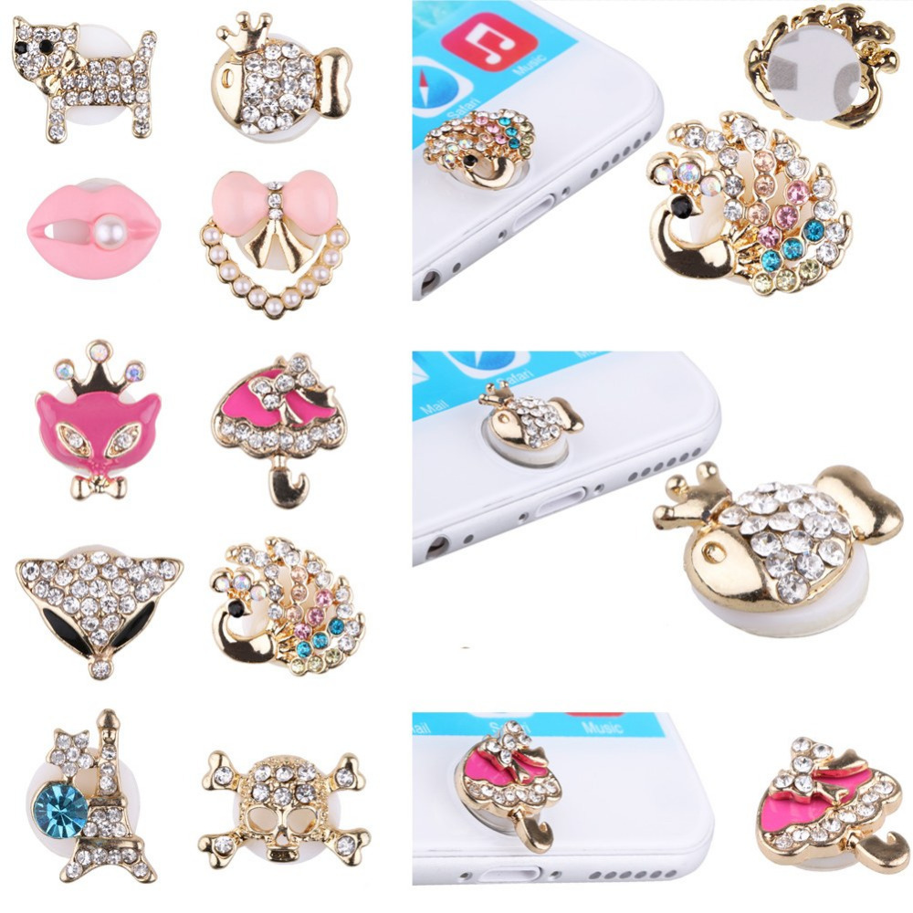 Fashion Bling Crystal 3D Home Button Decal Sticker For iPhone For iPad New Design 10 Styles(China (Mainland))
