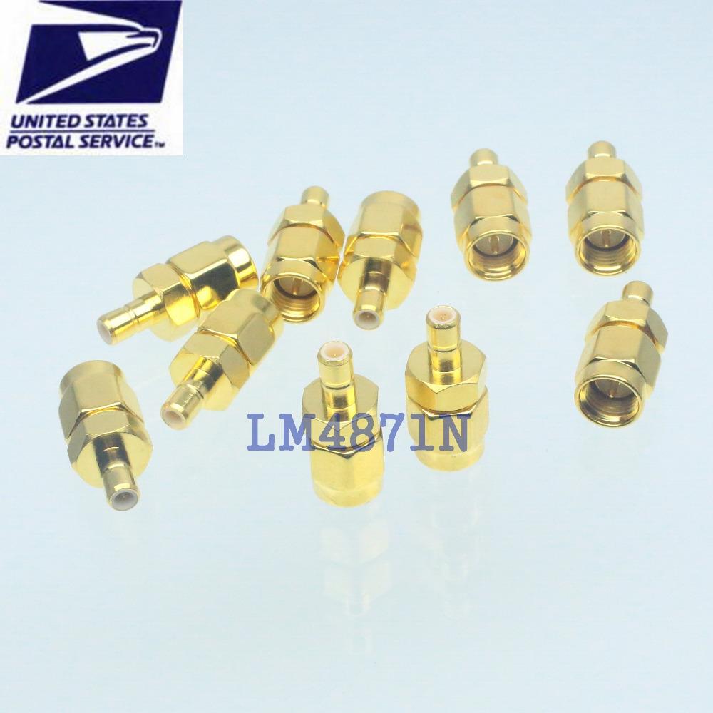 10pcs Adapter SMA male to SMB male plug RF connector straight gold plating M/M(China (Mainland))