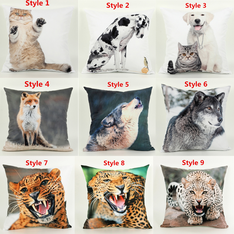 Short haired Cat Dalmatian Dog The wolf tiger leopard Cushion Cover Animal 3d 1 side printing