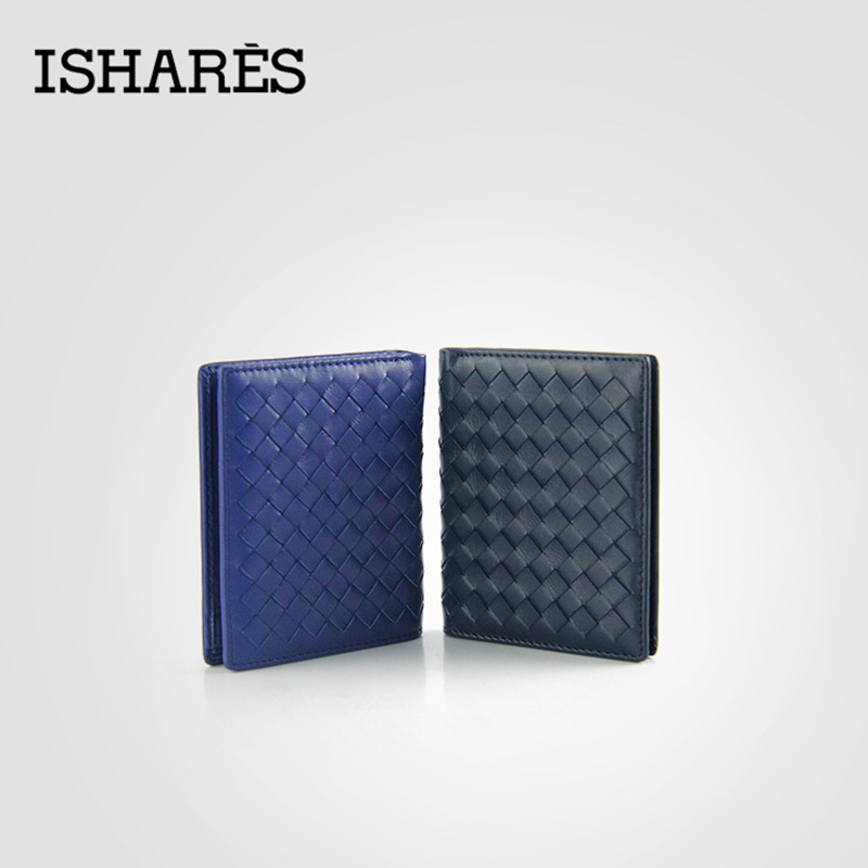 ISHARES high quality men short handmade weave sheep leather vertical wallets fashion genuine leather purse for male IS6003B(China (Mainland))
