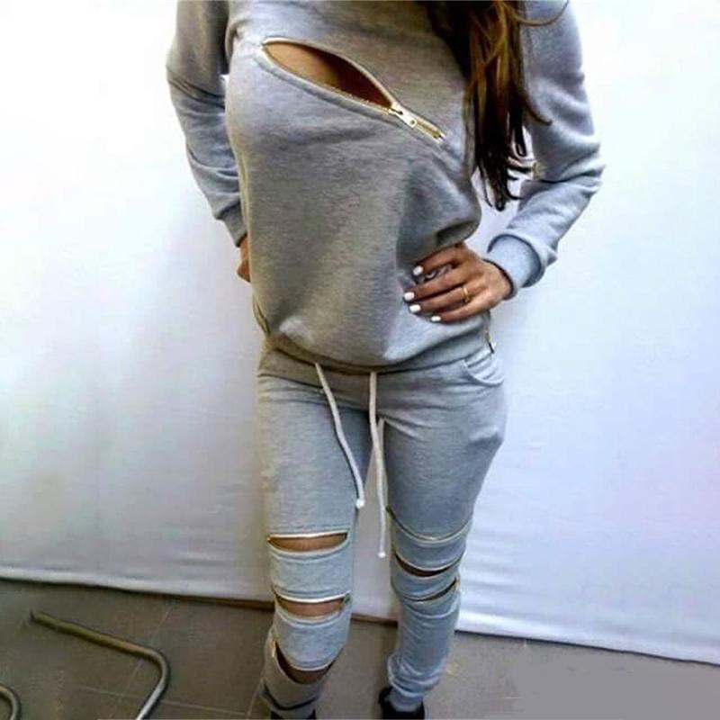Sports Women 2 Piece Tracksuit Sweatshirt Pants Zipper Hollow Out Jogging Suits 2015 Winter Autumn Hoodies Moletom Pullovers Set(China (Mainland))