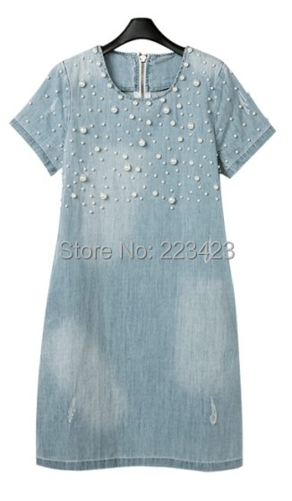 2015 new fashion women o-neck Washed Loose denim TShirt dress plus size Jeans Evening Party Lady Casual Washed Beaded 3X 4XL 5XL(China (Mainland))