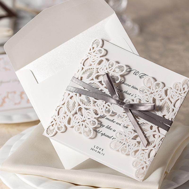 Design 10Pcs/Set Floral Bow Wedding Invitations Blank ...