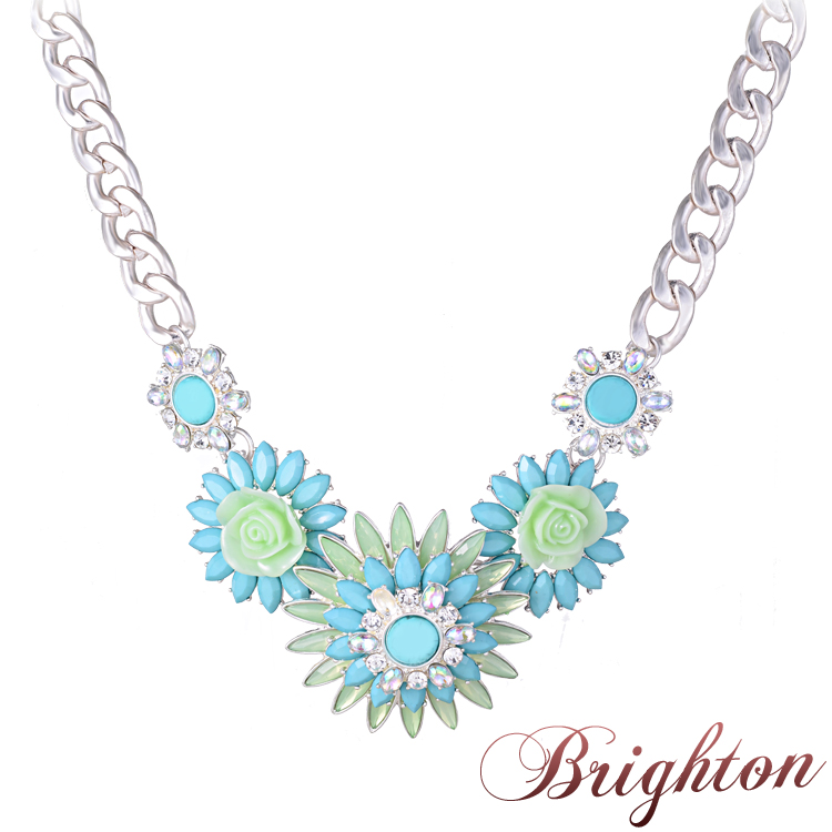 Fashion Brand Designer Silver Chain Crystal Clear Necklace Blue Daisy Pendants Necklaces Cute Summer Style Jewelry For Women(China (Mainland))