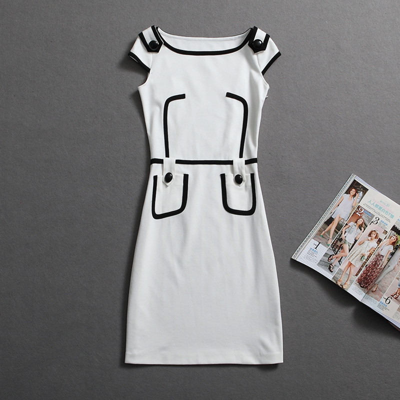Brand Dress Summer Women High Ptachwork Pocket White Dress Short Sleeve Slim Waist Sexy Women's OL Office Dresses