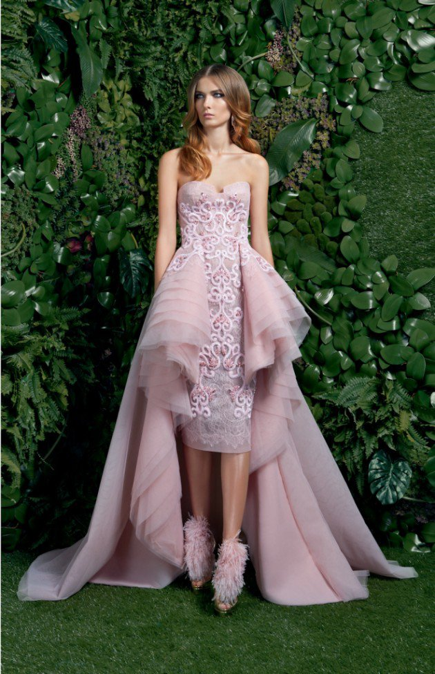 Strapless Haute Couture Evening Gowns Short Front Long Back Embroidered Lace Evening Dresses Festliche Damen Kleider 2016 Lang(China (Mainland))