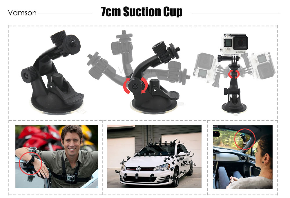 Gopro Accessories Set for go pro hero 5 4 3 kit Three way selfie stick for Eken h8r / xiaomi yi EVA case Vamson VS77