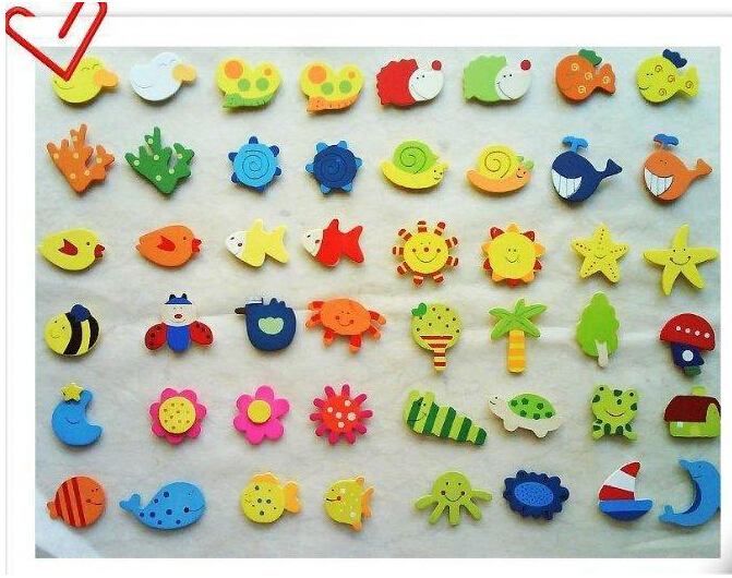 12pcs Colorful Wooden Cartoon Refrigerator Magnets for Children Various Shapes and Colors free shipping(China (Mainland))
