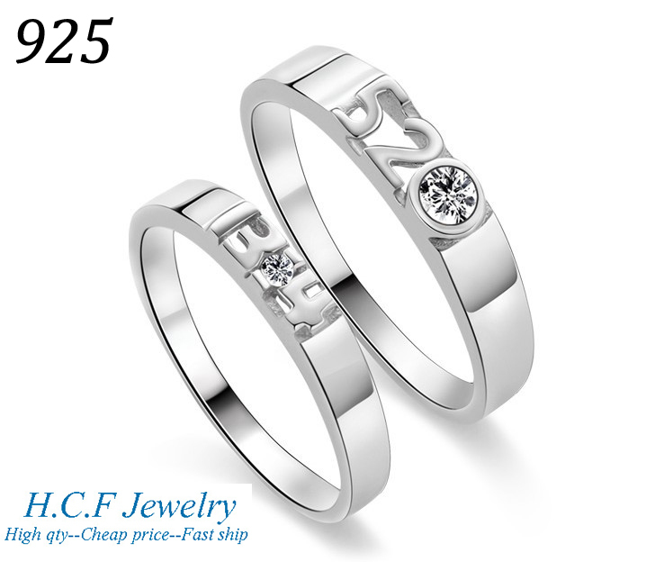 925 ring Christmas gifts sterling silver couples double ring 520, 1314, I love you for life Simple pure color free shipping(China (Mainland))