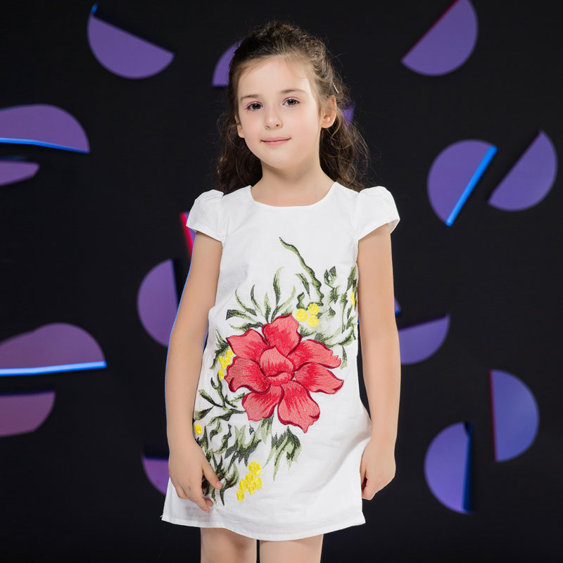 Girls Short Sleeves Dress 2016 New Brand Girls Dresses Summer Embroidery Flower Girl Party Dresses Kids Dress for Girls(China (Mainland))