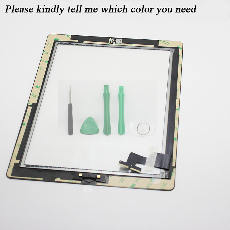Touch Screen Glass Digitizer Assembly with Home Button & 3M Adhesive Glue Sticker Replacement Repair Parts for iPad 2 036(China (Mainland))