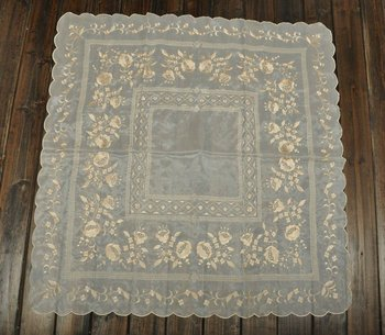 "50% OFF ,Soft  Flowerlet  Beige Embroidery  Wedding decoration/Table cloth 85X85CM SQ(33X33"")   Free shipping!"