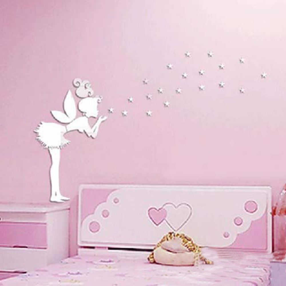 Angel Magic Fairy & Stars 3D Mirror Wall Sticker Kids Bedroom Decoration Gift Creative Little Girl Wall Sticker for Home House(China (Mainland))