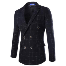 2015 New Arrival High Quality European Style High-end Men's Fashion Tartan Wool Blazer Double-breasted Suit Jacket Men