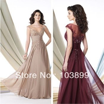 Perfect Combination Empire A-line Boat Neck Sleeveless Chiffon Long Appliqued Mother of the Bride Dress 2015