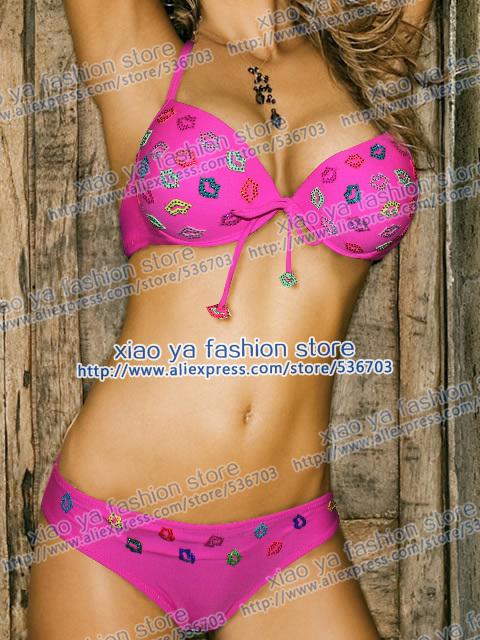 New Pink green yellow Hot pink 2PCS hand made Diamond Mouth Push UP Padded BIKINI Swimwear Sz S M L XL XXL(China (Mainland))