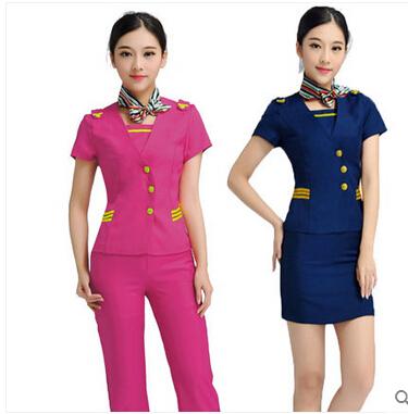 Гаджет   clerk work clothes summer female cashier manager occupation suit airline stewardess uniforms short sleeved beautician None Изготовление под заказ