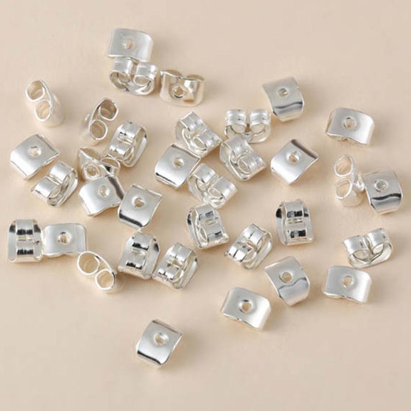 Sterling Silver Butterfly 100pcs/lot Earring Ear Studs Back Stoppers Scrolls Findings 7mm*5mm